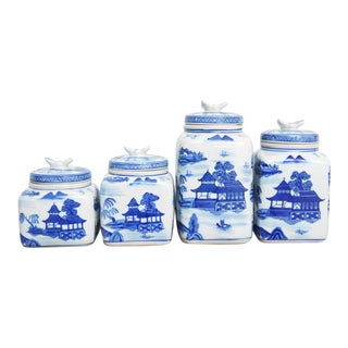 Blue & White Lidded Ceramic Jars - Set of 4