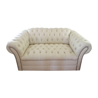 Vintage Cream Leather Chesterfield Loveseat