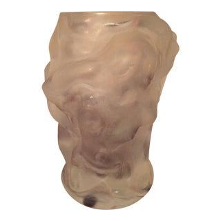 Vintage Nude Figural Hand Cut Glass Vase