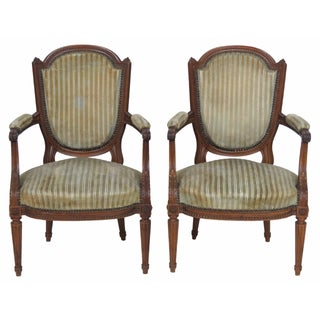 Antique Louis XVI Style Walnut Fauteuils - A Pair
