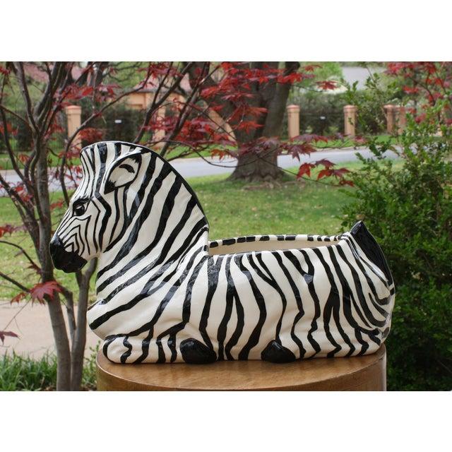 Image of Vintage Ceramic Zebra Planter