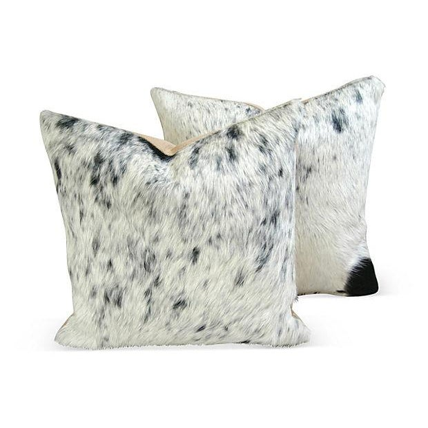 Image of Black, White & Gray Cowhide Pillows - A Pair