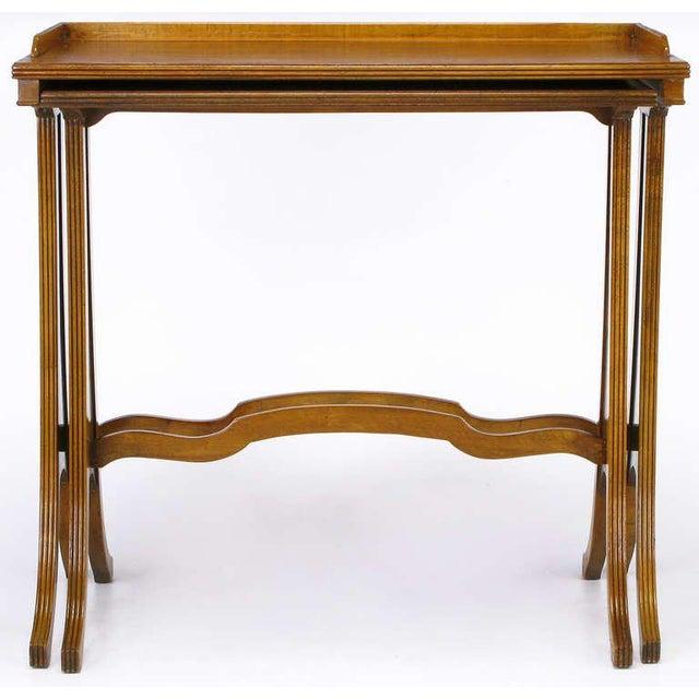 Baker Art Nouveau Style Burled Walnut Nesting Tables - Image 7 of 10