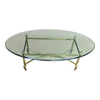 La Barge Hollywood Regency Brass & Clear Glass Coffee Table