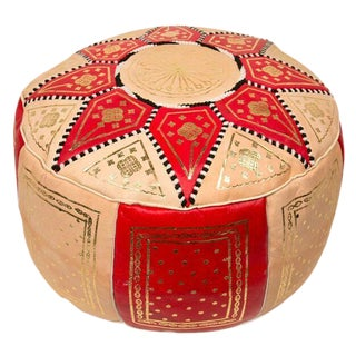 Red Traditional Moroccan Pouf