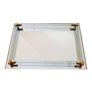 Vintage Lucite & Brass Mirrored Tray