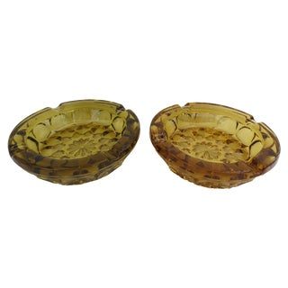 Amber Glass Ashtrays - Pair