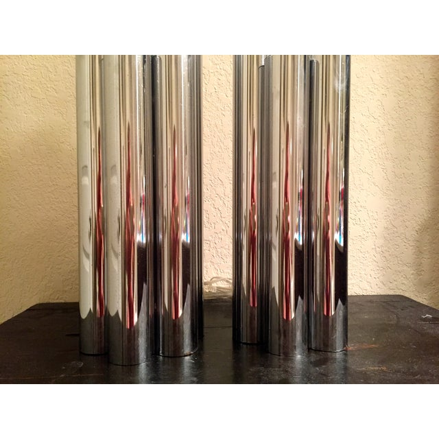 Tubular Chrome Table Lamps - A Pair - Image 4 of 8