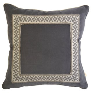 Gray Velvet Pillow Custom Geometric Tape