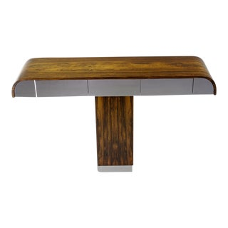 Rosewood & Chrome Pedestal Console