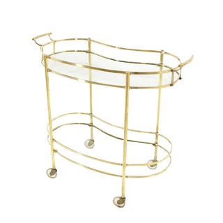 Solid Brass Kidney Shape Two-Tier Rolling Cart