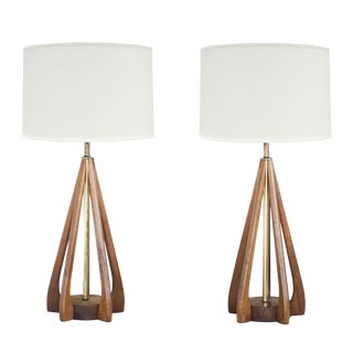 Cage-Style Walnut Table Lamps - A Pair