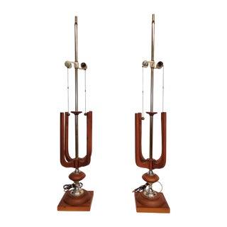 Mid-Century Modern Danish Teak Lamps - A Pair
