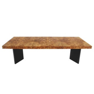 Burl Wood Dining Table with Two Leaves