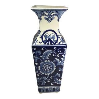 Chinoiserie Blue & White Ceramic Vase