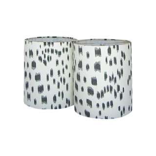 Brunschwig & Fils Les Touches Black Animal Print Drum Chandelier or Sconce Shades - A Pair