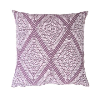 "Handwoven Mauve Diamond Pillow - 18"" x 18"""