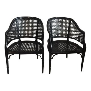 Mid-Century Gloss Black Chairs - A Pair
