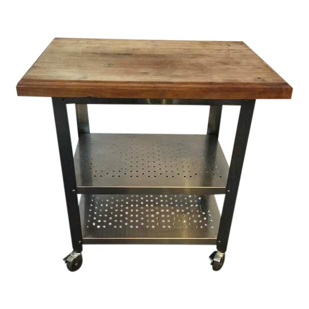 Contemporary Chrome Rolling Kitchen Island - Image 1 of 6