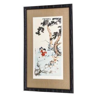 Vintage Chinoiserie Asian Children Framed Print