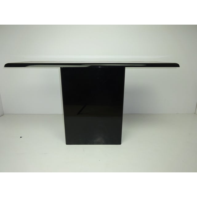 T Shaped Black & Wood Grain Console - Image 2 of 7