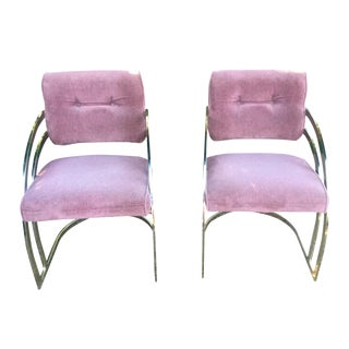 Milo Baughman Style Brass Dining Chairs - Pair