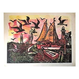 Abstract Modernist Harbor Etching by Amram Ebgi