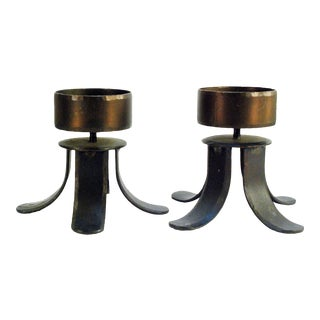 Modernist Bronze Metal Candle Holders - Pair