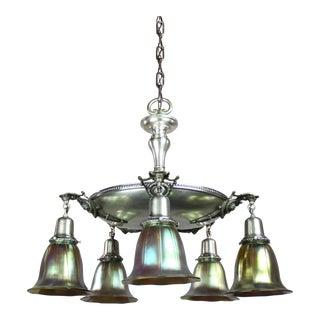 Antique Pan Light Fixture with Original Silver Finish (5-Light)