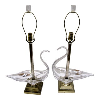 Cofrac Art Verrier French Brass & Crystal Swan Shaped Table Lamps - A Pair