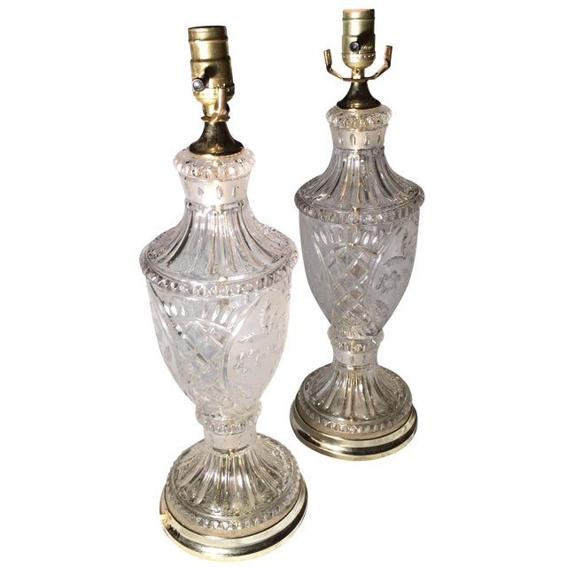 Image of Vintage Crystal and Silk Shantung Table Lamps - 2