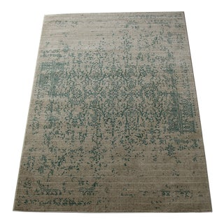 Teal Distressed Patterned Rug - 8'x10'7""