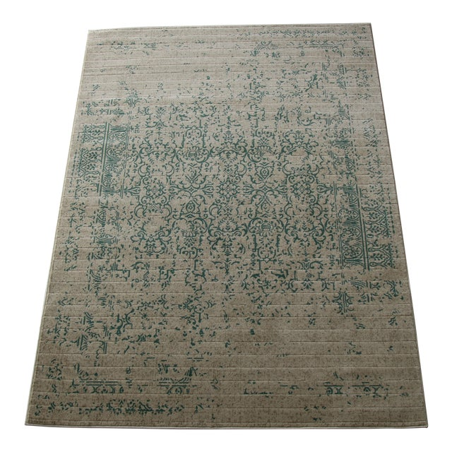 "Teal Distressed Patterned Rug - 8'x10'7"" - Image 1 of 7"