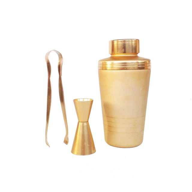 Image of Vintage Matte Gold Three Piece Cocktail Set