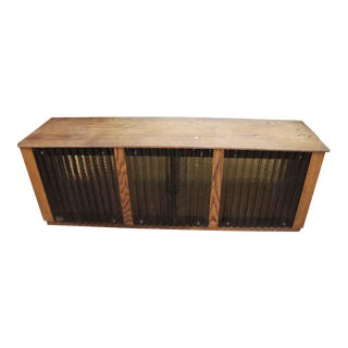 Chestnut Console With Amber Tinted Corrugated Chicken Wire Glass