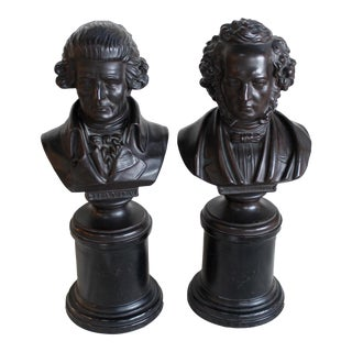 Vintage Ceramic Busts of Mendelssohn & Haydn - a Pair