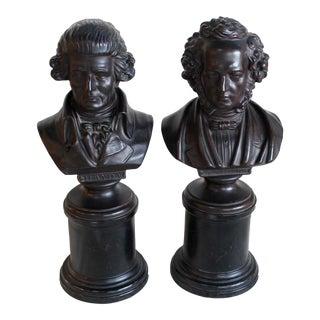 Vintage Ceramic Busts of Mendelssohn & Haydn - a Pair