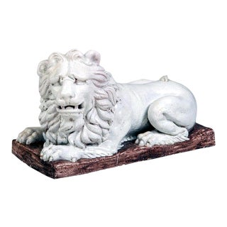 French Tin-glazed Earthenware Large Figure of a Recumbent Lion, Late 18th Century.