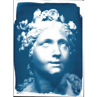 Limited Serie Cyanotype Print on Watercolor Paper, Bernini Blessed Soul Sculpture
