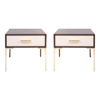 Astor Nightstands in Contrasting Ebony & Ivory by Montage - Pair