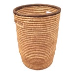 Image of Large French Woven Basket With Leather Rim