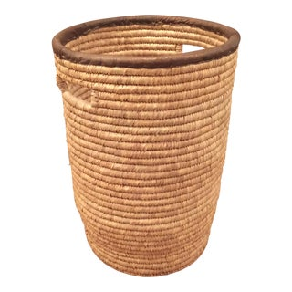 Large French Woven Basket With Leather Rim