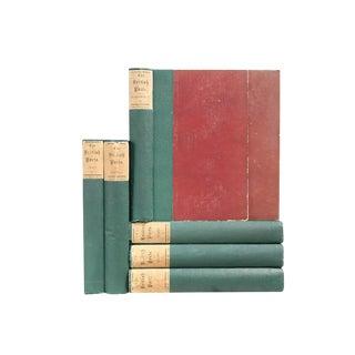 Antique British Poet Green Books - Set of 7