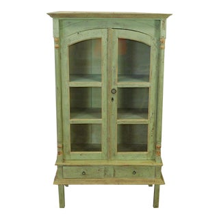 1990s Green Distressed Painted Primitive Country Single Door Kitchen Cabinet