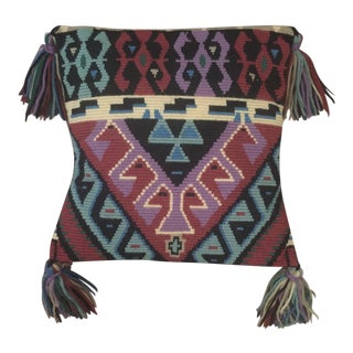Vintage Bohemian Tribal Needlepoint Yarn Pillow With Tassels