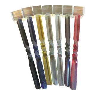 Colorful Plastic Swizzle Sticks Stirrers - Set of 7