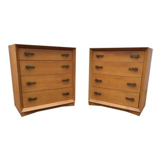 Mid-Century Wood & Brass Bachelors' Chests - A Pair