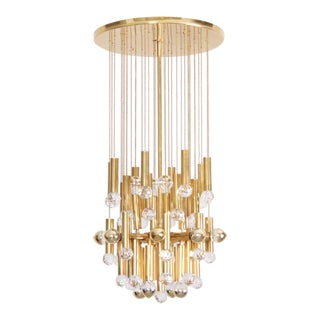 Huge Glass Crystal Drops and Brass Ceiling Mount Fixture by Ernst Palme