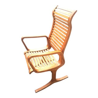 Mid-Century Oak Custom Lounge Chair
