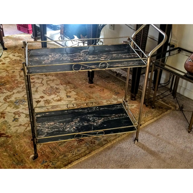 Mid-Century Modern Brass & Marble Rolling Bar Cart - Image 5 of 11